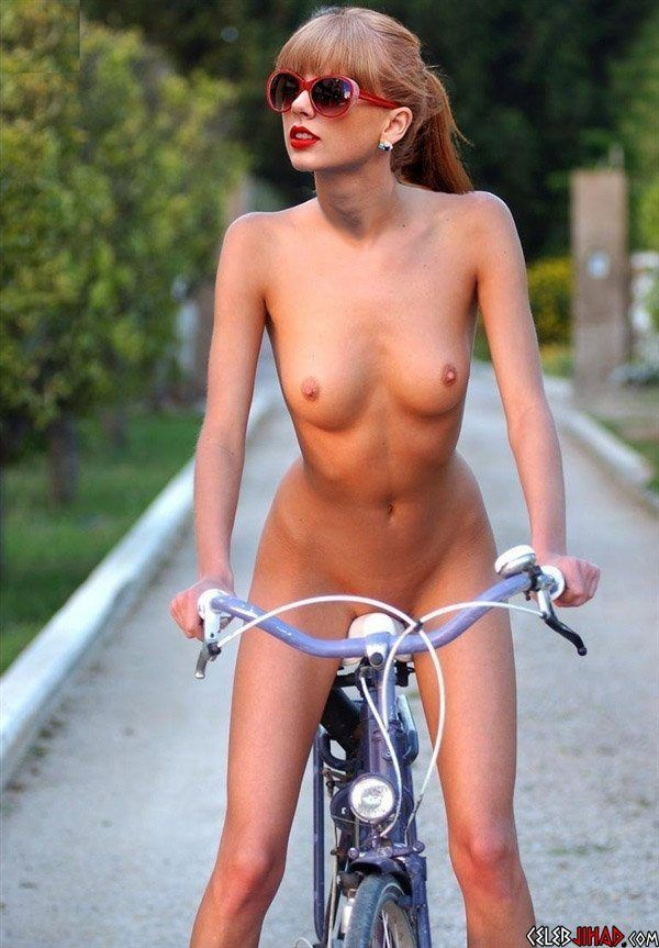 Nude girl reading bike